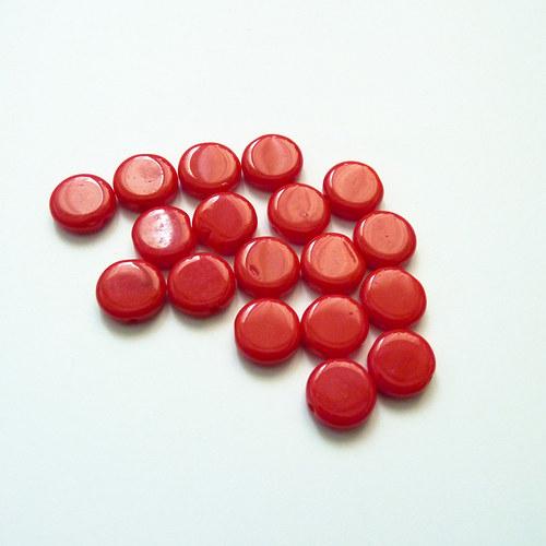 Červené skleněné placky 18 ks