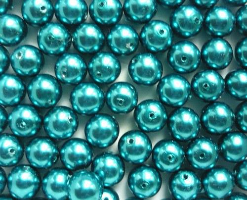 Voskové perly průměr 6mm 20 ks barva tyrkysková