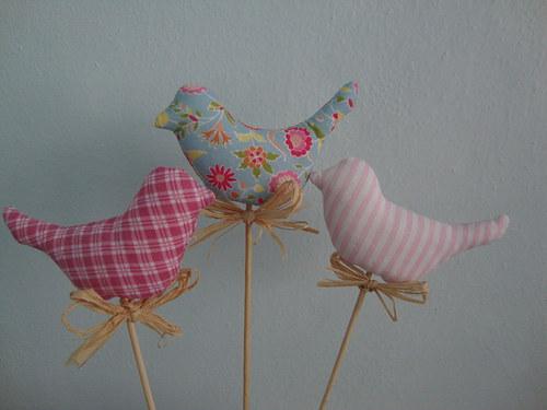 Ptáčci - růžová sada zápich