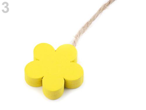 Dřevěné květy - žlutý (4ks)