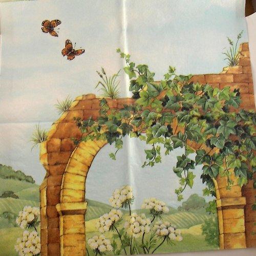 Ubrousek na decoupage - brána - 33 x 33 cm