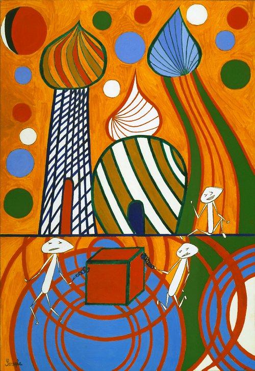 plakát - abstrakce - Měsíční městečko