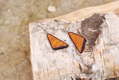 Dřevěné náušnice - Trojhránek sluneční