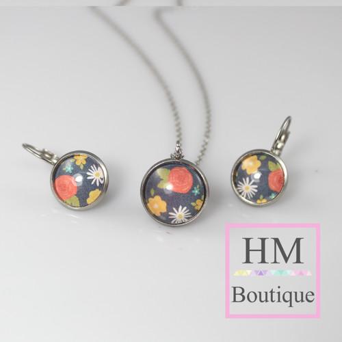 ocelový set -náušnice a náhrdelník květinoý motiv