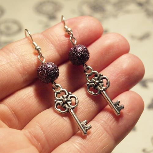 Náušnice - Fialové klíčky