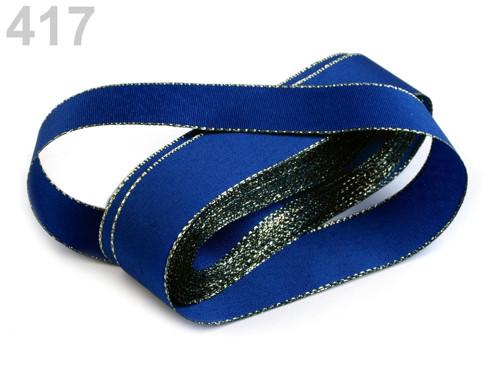 Taftová stuha s lurexem 25mm (10m) - modrá zlatá