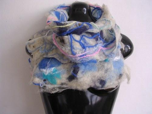 Modrá s modrou-oboustranná plstěná šála neobvyklá