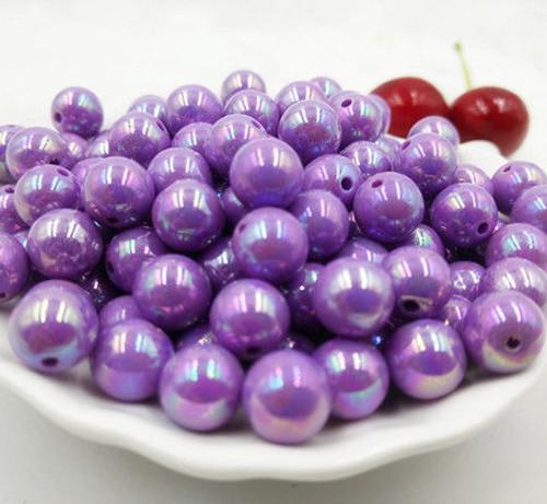 10ks/10mm AB Korálky akrylové fialové