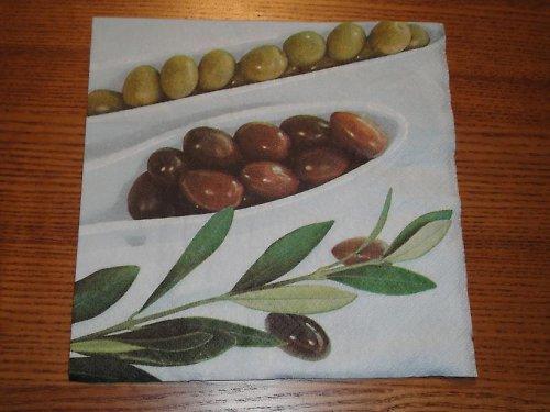 Ubrousek na decoupage - olivy  v misce
