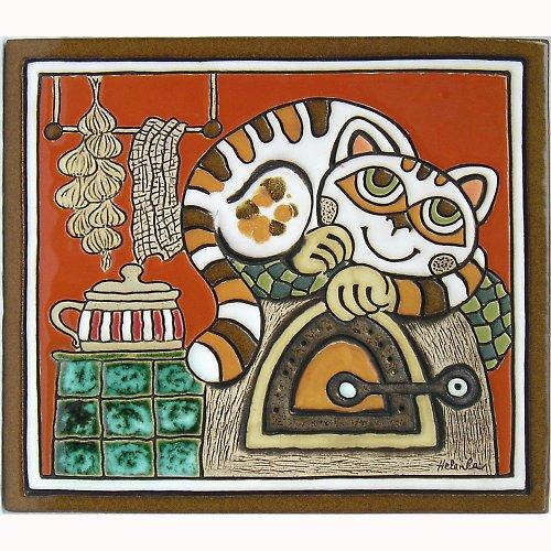 Keramický obrázek - Kočka na peci K-107-CI
