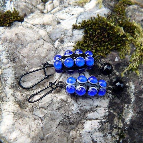 Náušnice  okaté olivy - modré (kobalt)