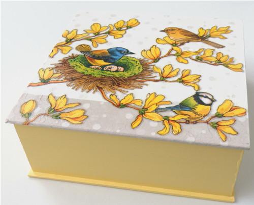 Dřevěná krabička - U hnízda (žlutá)