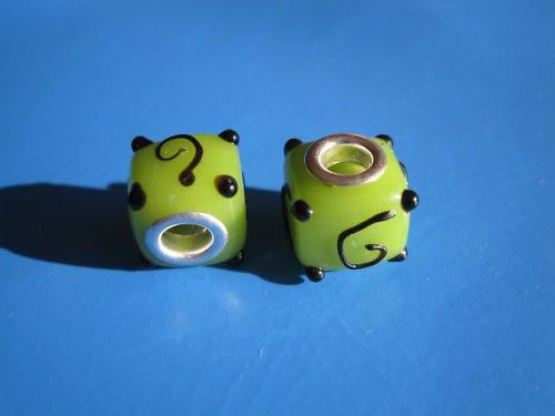 Korálky 2ks - zelena kostka