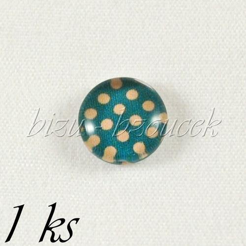 Skleněný kabošon modrozelený s puntíky - 1ks,10 mm