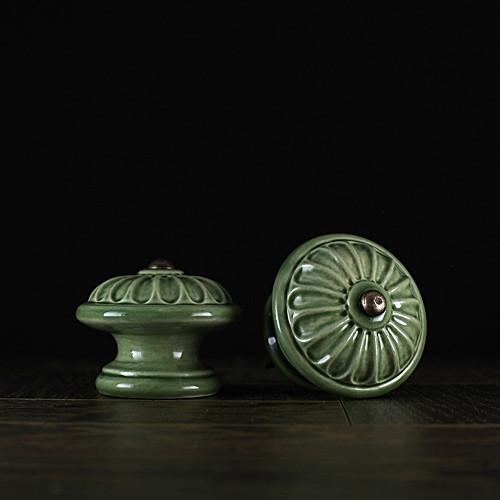 úchyt - knopek zelený - vzor č. 4 VELKÝ