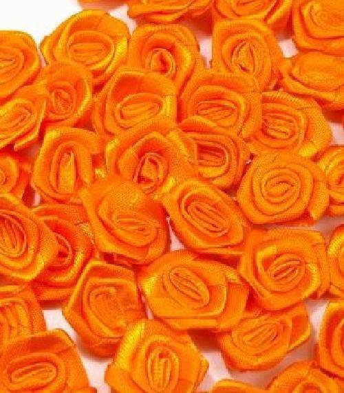Saténová růžička 10 ks: Oranžová