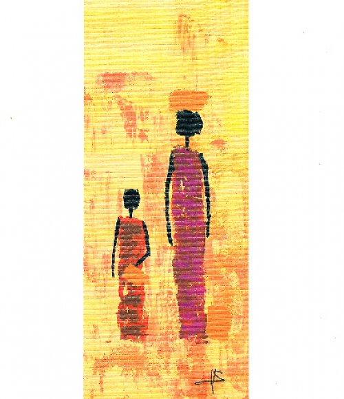 Reprodukce- tisk - Etno žena s mísou 10x25cm-004
