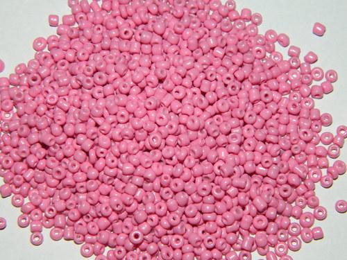 korálky rokajl ružové 3mm
