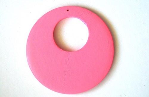 Dřevěné kolečko - světle růžové