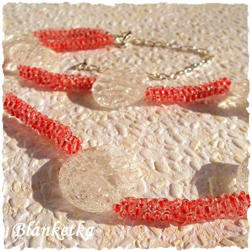 Křišťál a jahody...náhrdelník