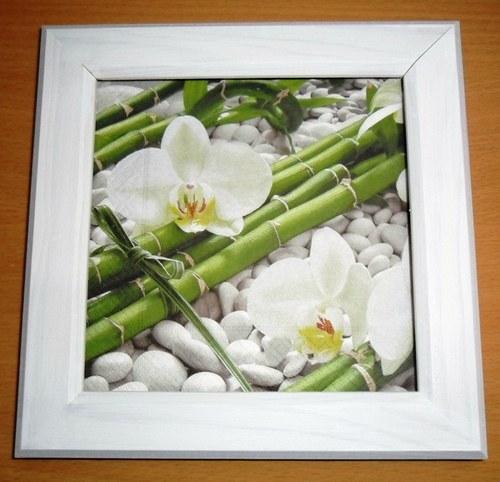 """Bílý obrázek \""""bambus a orchidej\"""""""