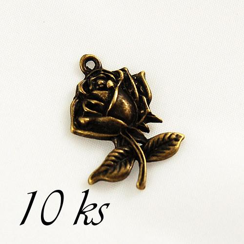 Růže, bronzová barva - 10ks