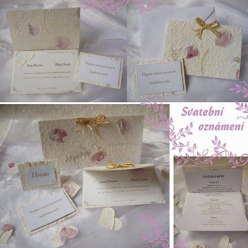 Svatební oznámení SADA III. - ruční papír