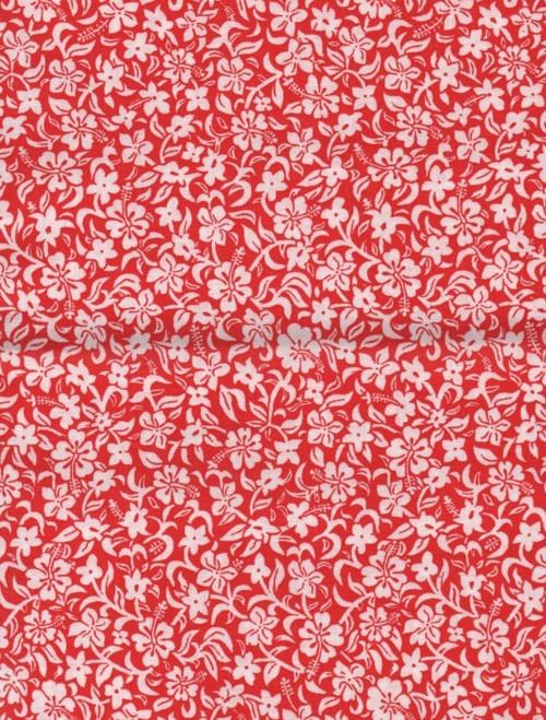Látka, vzor tropické květiny, červený podklad