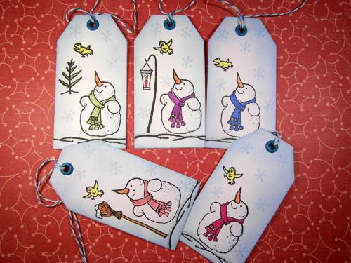 Vánoční visačky - sněhulák 5x jinak