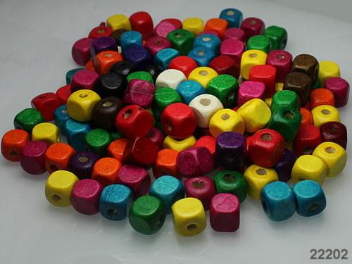 22202 Dřevěné korálky kostky 10/10 MIX, bal.30ks!