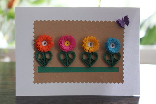 Přáníčko s barevnými květy ...