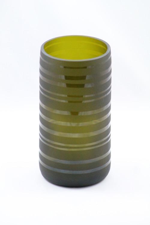 Hnědá pískovaná váza - pruhy
