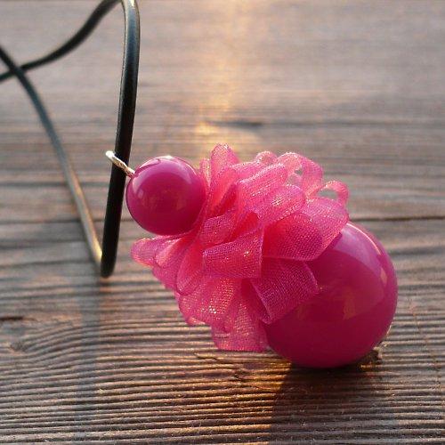 Růžová pompadůrka - náhrdelník