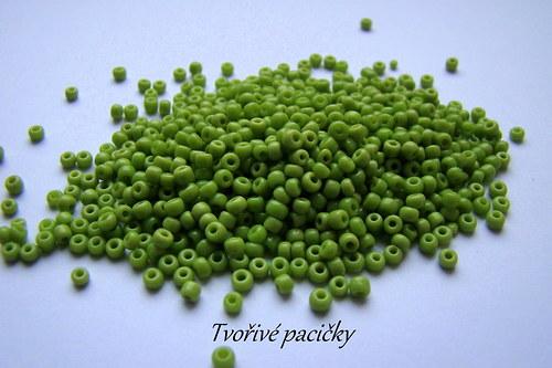 Rokajl skleněný jednobarevný 3 mm - zelená 20g