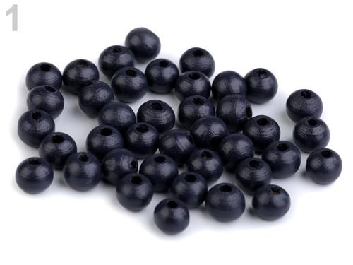 Dřevěné korálky Ø8mm (cca 60ks) - modrá tmavá