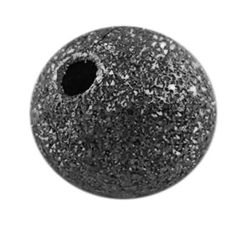kovový korálek hvězdný prach/ černá/ 8mm/4ks