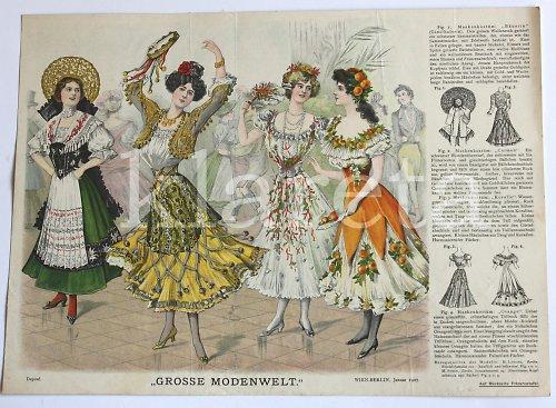 originální módní litografie z roku 1907