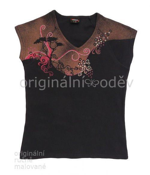 Malované tričko dámské - strom - tmavomodré