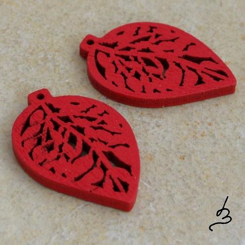 Dřevěný list červený - 4 ks