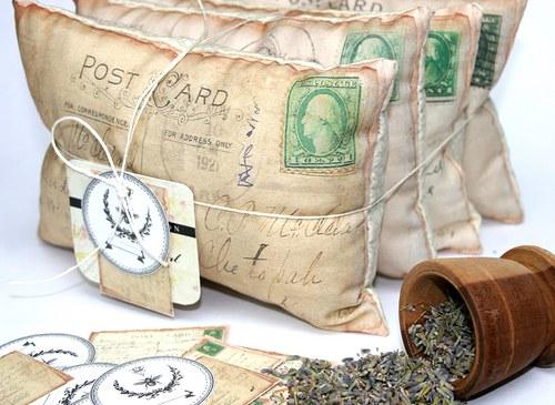 Dopisy - polštářky s levandulí 4 kusy