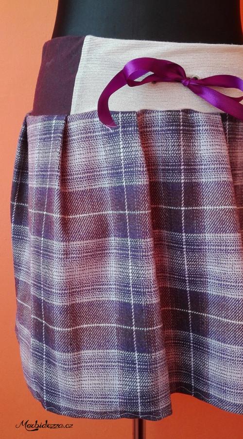 Fialová teplá sukně z kabátoviny se stuhou