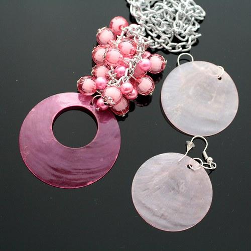 Růžová perleťová sada - náhrdelník+náušnice - VÝPR