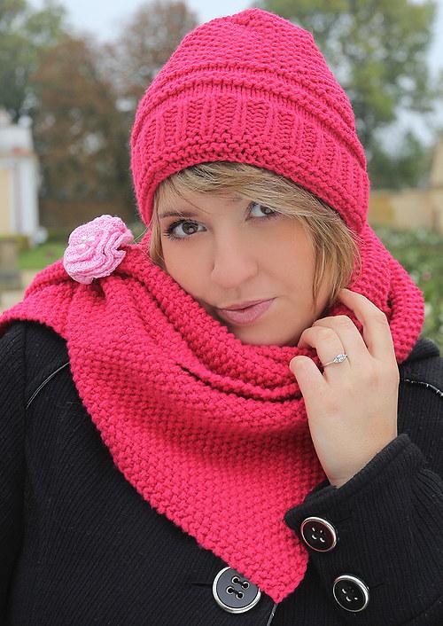 Pink - souprava čepice a šály