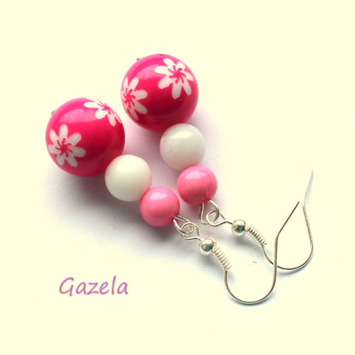 Náušnice Kuličky s kytičkami růžové