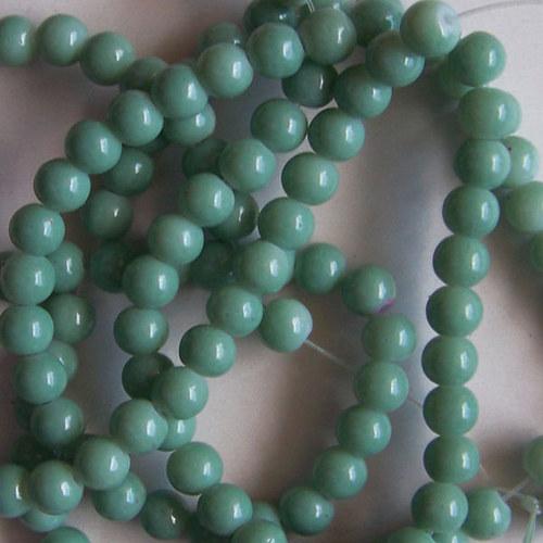 skleněné korálky LESK/ zelená mentol./ 6mm/20ks