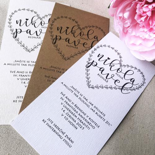 Svatební oznámení, bílý papír strukturovaný, tisk