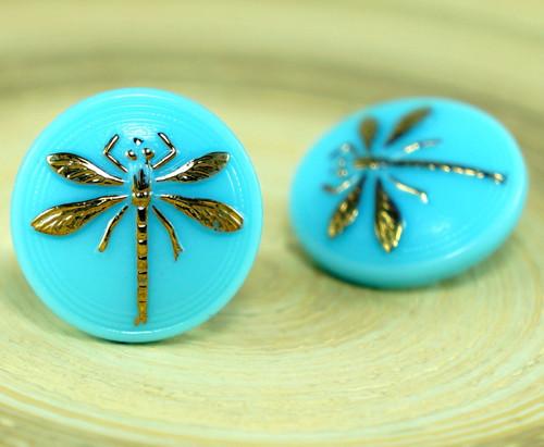 1ks Malé Neprůhledné Baby Blue Zlatá Vážka Hmyzu,