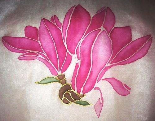 Květ magnolie - hedvábná šála