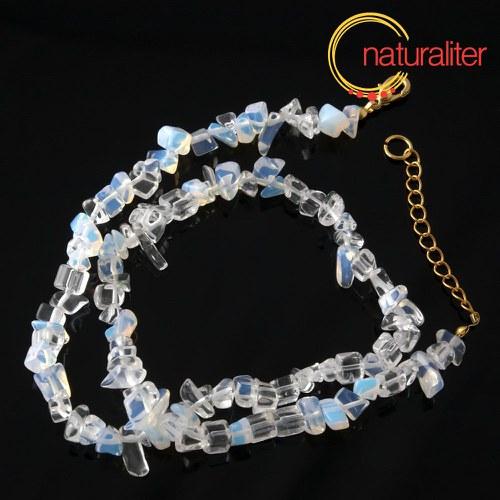 Opalit-měsíční kámen zlomky,návlek 40cm/náhrdelník