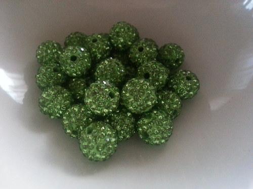 Nádherné shamballa korálky zelená